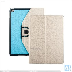 For ipad 360 case leather contrast color, contrast color smart cover for ipad 6