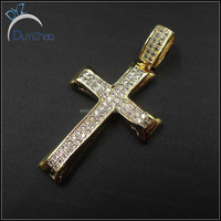 real gold brass cz cross pendant cheap hip hop jewelry