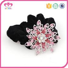 Colorful rhinestone scrunchies black elastic hair bands