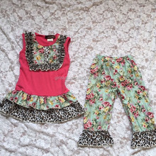 Bulk Wholesale Latest Style Trendy Leopard Ruffle Boutique Outfits 0-10 Years Old Knitted Baby Summer Cothing Sets