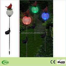 Polyresin red bird with paste glass ball plug-in unit solar stake for garden decoration outdoor lightings