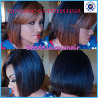 Hot Selling sexy wigs bob style haircut short lace front wig ombre color 130% density virgin hair bob wig with bang