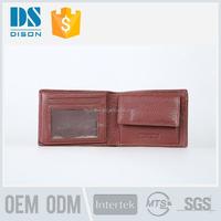 Brown fold top full grain leather wallet man