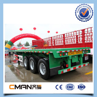 China 2015 new 20ft 40ft 50 ton tri-axle flatbed trailer for sale in Shandong