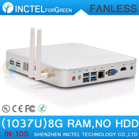 Fanless Mini PC Computer with Intel Celeron 1037U CPU with 4 USB 3.0 Ports 8G RAM Only Barebone PC
