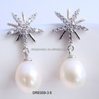 2015 Lastest Indian Design 925 Silver Jewelry Drop Fresh Water Pearl Earrings For Women Accepted By paypal