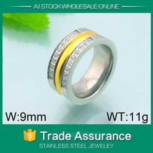 fashion cheap wholesale clear crystals gold titanium circle shape 316l stainless steel ring body piercing jewelry