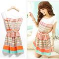 2014 ropa para mujer de verano nuevo rayas de colores vestido de gasa libre bowknot cinturón dresses2691 de la mujer