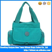 2015 China high quality washer wrinkle fabric multi-function more pockets shoulder bag young ladies nylon handbags