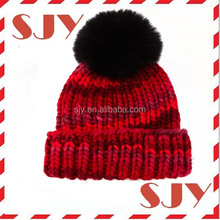 Canada Winter Knitted custom Acrylic Wholesale Beanie Hats With Fur Ball