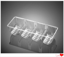 Clear plastic compartment biscuit packaging tray