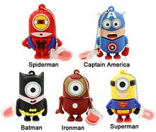 Captain America super heroes minions pen drive 32GB 16GB 8GB 4GB 2GB cartoon usb 2.0 Pen drive