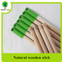 wholesales straigth wooden broom handle / natural wooden mop stick with long cap