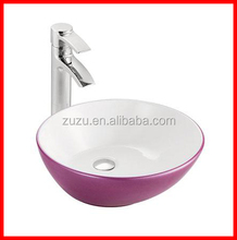 Bathroom round bowl shape counter art purple and white color basin A341-LPW