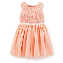 Cute Peach Lace Tops with Fixed Bow Tulle Skirt Birthday Party Dress for Toddler Girls Special Occasions Frocks