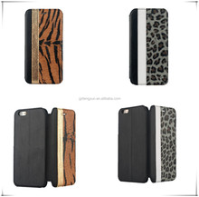 Armor protective leopard pattern pu leather case for iphone 6 plus