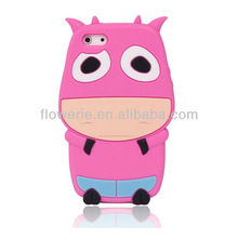 FL731 NEW ARRIVAL! Dairy cow silicone case cover housing for iphone 5,soft cute animal case cover for iphone 5,3D silicone case
