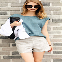 Fashion Round Neck Short Sleeve Linen Casual Women T-shirt Made in China