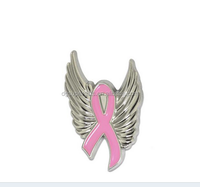 Custom metal breast ribbon with wing pin angel ribbon badge
