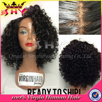 grade 6a hair short afro kinky lace human hair wigs wholesale