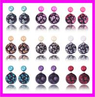 wholesale fashion latest design of double pearl stud skull earrings