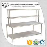 Stainless Steel Folding Work Table Reinforced Frame Resturant Kitchen Work Table with top shelf Portable Work Table