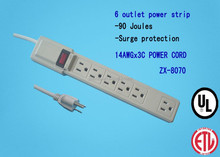 6-Outlet Home/Office Surge Protector with 2.5 feet Cord & Straight Plug