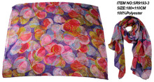 women 's fashion multi color flower printed 100%polyester scarf 2015