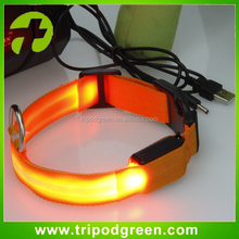 Factory price USB rechargeable flashing dog collar