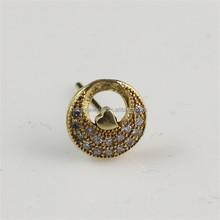 China Fine Jewelry Manufacturer Hot Selling Zircon Paved Round Shape Raw Brass Diamond Stud Earrings