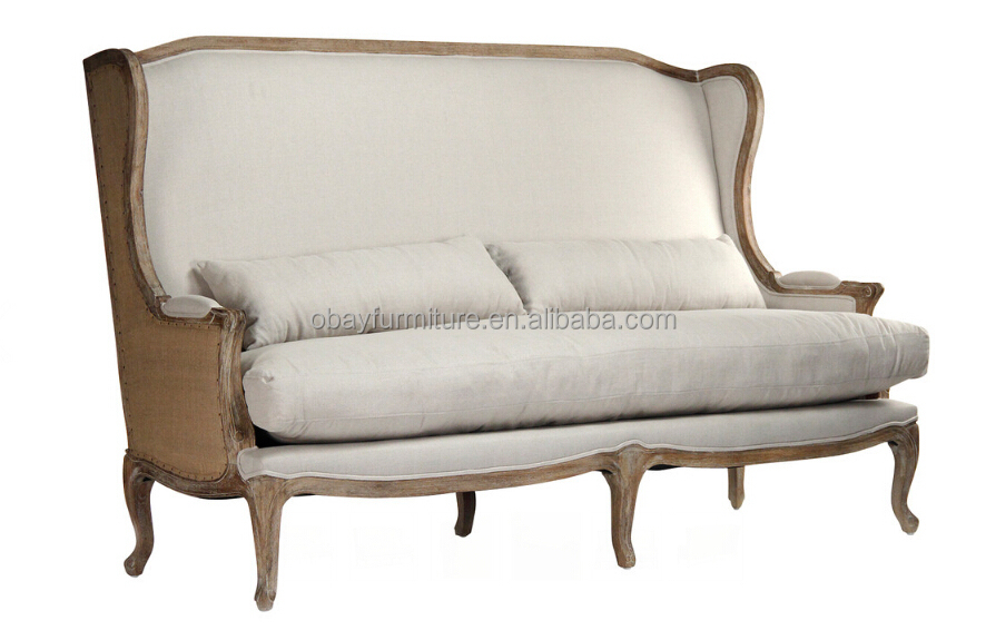 french country high back linen sofa dining french. Black Bedroom Furniture Sets. Home Design Ideas