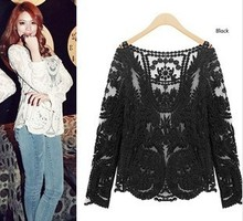 2014 Fashion new women clothes tops loose perspective sexy Engraving flower long sleeve lace blouse