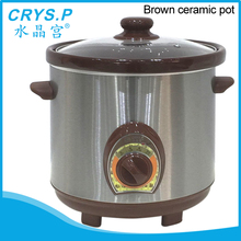 3.5L Mechanical control brown ceramic slow cooker with stainless steel out body