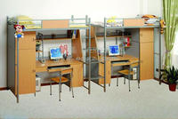 Modern School Furniture Bunk Bed With Study Desk for Student