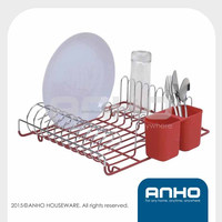 Red durable use chrome iron dish rack for cabinets, kitchen dish rack, plate rack
