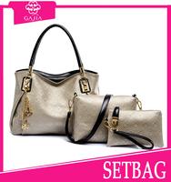 Hot! 2015 latest elegant brown beauty face 4pc set bag women luxury leather purse and handbags designer lady handbag from China