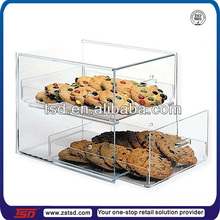 bakeshop clear acrylic bakery display for bread/ cookies/ donuts with drawers