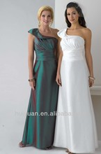 Sexy A-Line One Shoulder Ruched Bodice Teal Colored Bridesmaid Dresses