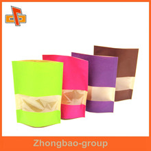 stand up zip lock food grade craft paper bag with window for snack,cnady,dried fruit,coffee bean packaging
