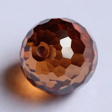 faceted crystal balls bead brown loose round gems