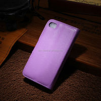 For apple iphone 4 PU leather wallet case flip case for iphone4