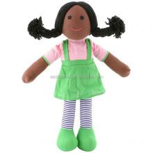 Directo de fábrica negro trapo muñecas, juguetes de peluche personalizados