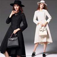 2015 Winter 100% polyester fiber elegant formal A-line lady overcoat