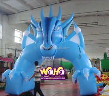 2015 new special design blue dragon giant advertising inflatable tunnel channel passage for sports