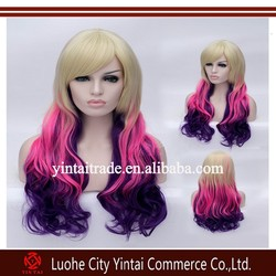 japanese hot cosplay long box braid wig blonde pink purple three tone ombre fashion wig