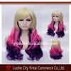 japanese hot cosplay long box braid wig blonde pink purple three tone ombre fashion wig