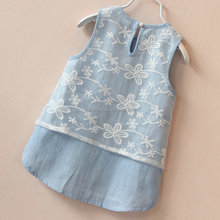 children's demin and lace two-piece sleeveless dress with pearl buttons at CB