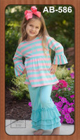 Beautiful baby girls stripe knitted cotton tunic top matching solid color pants for thong fashion show