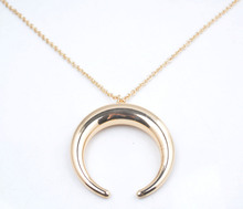 2015 high quality jewelry gold plated horn necklace,charm necklace