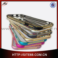 2015 Wholesale High Quality Luxury Rhinestone Aluminum Hard Bumper Mobile Phone Case Cover for Iphone 6